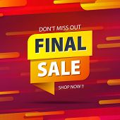 Yellow Orange Tag Final Sale Promotion Website Banner Heading Design On Graphic Red Background Vecto poster