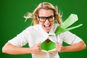 foto of superwoman  - Green Superhero Businesswoman crazy face  Emerges from shirt - JPG