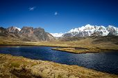Panoramic View Of The Lake In Spectacular High Mountains, Cordillera, Andes, Peru, With Colorfull Da poster