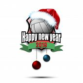 Happy New Year. Volleyball Logo Template Design. Volleyball Ball With Santa Hat. Pattern For Banner, poster
