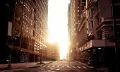 stock photo of early morning  - Early morning in still empty streets of New York - JPG
