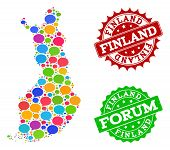 Social Network Map Of Finland And Rubber Stamp Seals In Red And Green Colors. Mosaic Map Of Finland  poster