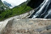 picture of firn  - Waterfalls and snowfields in summer - JPG