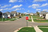 New Residential Homes In A Suburban Subdivision
