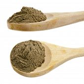 black pepper powder spice on wooden spoon  isolated on white