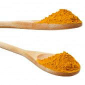 Turmeric powder spice on wooden spoon  isolated on white