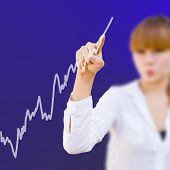 Businesswoman With Touch Analyzing Stock Market Graph