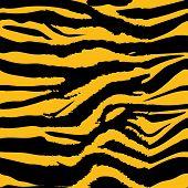 Background Pattern Texture Tiger Orange Stripe Black Jungle Safari. Tiger Seamless Pattern. poster