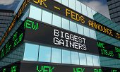 Biggest Gainers Stock Market Ticker Words 3d Illustration poster