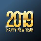 Happy New Year 2019, Gold 2019 On Dark Background, Illustration, New Year 2019, Colorfull Numbers, N poster