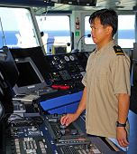 Navigation Officer Manages Autopilot