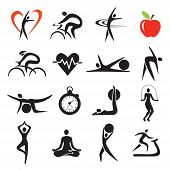 Health Fitness Sport Icons Sets. Set Of Fitness And Healthy Lifestyle Stylized Icons.isolated On Whi poster