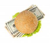 Hamburger With Money On The White Background
