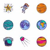 Space Universe Icon Set. Hand Drawn Set Of 9 Space Universe Icons For Web Design Isolated On White B poster