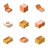 Delivery Packing Box Icon Set. Isometric Set Of 9 Delivery Packing Box Icons For Web Design Isolated poster