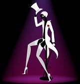 pic of cabaret  - on abstract black background is a black - JPG