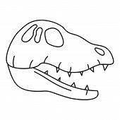 Dinosaur Skull Head Icon. Outline Dinosaur Skull Head Icon For Web Design Isolated On White Backgrou poster