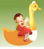 Постер, плакат: Девочка сидит на утка