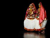 Chennai - SEPTEMBER 15: Kathakali performer in the virtuous pachcha (green) role in Chennai on Septe
