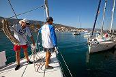 SARONIC GULF, GREECE - SEPTEMBER 24: Unidentified sailor participates in sailing regatta