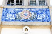 tiles (azulejos) at railway station of Duas Igrejas, Portugal