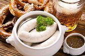 bavarian breakfast with weisswurst