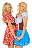 stock photo of fancy mouse  - Two beautiful blonde women in carnival costumes of Mouse and Snow White - JPG