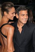 LOS ANGELES - OCT 4:  Stacy Keibler, George Clooney arrives at the