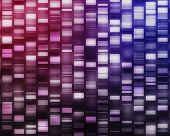 Pink and purple DNA strands on black background