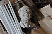 Broken Sculpture Head Of Adult Man