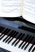Black And White Piano Keys And Sheet Music
