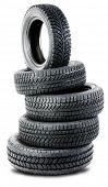 Pyramid of tires isolated on the background