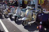 Classic Vespa and Lambretta scooters