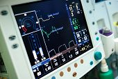 stock photo of electrocardiogram  - Photo  of Mechanical ventilation equipment close up - JPG