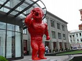 Moscow, Russia - June 27, 2008: Summer Day. Monument Of Red Gorlum Near Central Department Store (ts