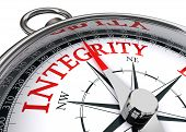 stock photo of ethics  - integrity red word indicated by compass conceptual image on white background - JPG