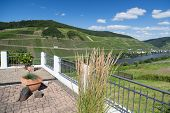 Terrace With Beautiful View At The River Moselle In Germany