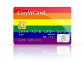Credit Card Covered With Gay Flag.