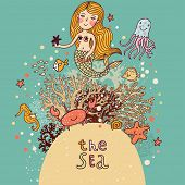 The sea �¢�?�? bright cartoon card with mermaid, octopus, fishes, crab and sea horse near coral.