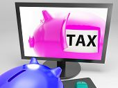 Tax In Piggy Shows Taxation Payment Due