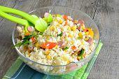 foto of pickled vegetables  - rice salad dressed with pickled vegetables olive oil sausages and corn - JPG