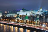 MOSCOW - DEC 6: Night view of the Kremlin and the Moscow River on December 6, 2012 in Moscow, Russia.