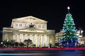MOSCOW - JAN 2: Beautiful building of Bolshoi Theatre in night on January 2, 2013 in Moscow, Russia.