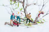 Miniature lumberjacks busy in felling trees