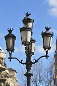 Ornate Cast Iron Lamp Post. Barcelona. Spain