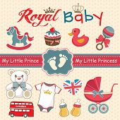 stock photo of teddy  - Set of retro style design elements for royal baby - JPG