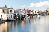 stock photo of houseboats  - Houseboats on Lake Union in Seattle - JPG