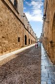 Rhodos Island, Greece, Old Medieva Town. Street Of The Knights