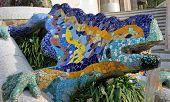Mosaic Salamander. Barcelona Landmark, Spain.