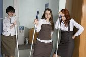 Attractive Clerks Washing The Floor In Office. Boss Fired Cleaner. Financical Crunch